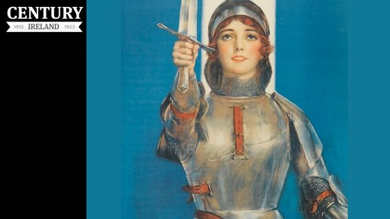 World War I-era poster urges to American women to buy War Saving Stamps by using Joan of Arc as a symbol of female patriotism. Photo: Library Company of Philadelphia, P.2284.122b