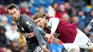 Jeff Hendrick in action against Leicester City's Christian Fuchs back in January
