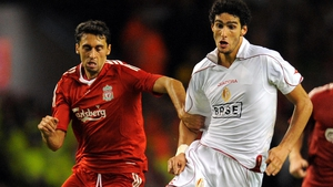 Marouane Fellaini (R) in action for Standard Liege against Liverpool in 2008