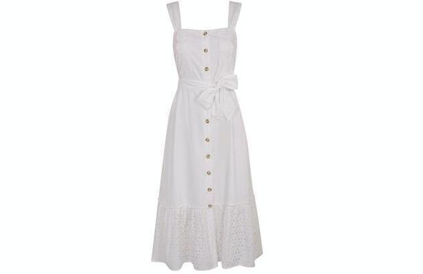 Principles Petite Ivory Broderie Anglaise Cotton Petite Midi Dress