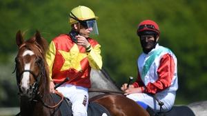 Jockeys at the Hanover race meeting wore protective masks