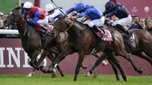 Victor Ludorum (blue silks) swoops for victory in the Prix Jean-Luc Lagardere at last year's Arc meeting