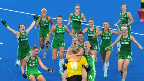 Irish hockey players celebrate a win in the 2018 Hockey World Cup quarter-final. Photo: Craig Mercer/Sportsfile
