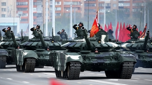 Thousands of troops parade before crowds in Belarus