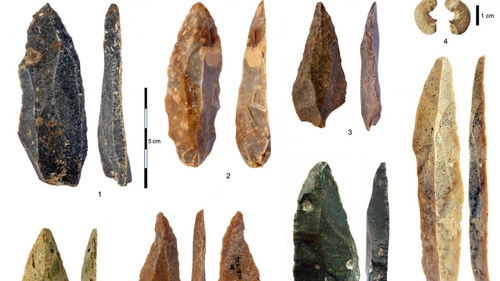 The tools pictured were found at the Bacho Kiro Cave site