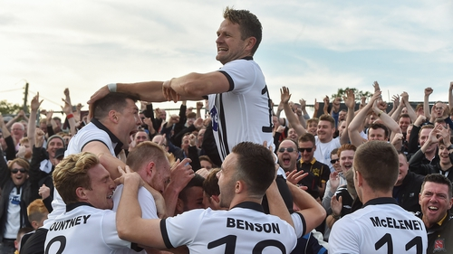 Dundalk players celebrate during their UEFA Champions League second qualifying round clash with Rosenborg in 2017