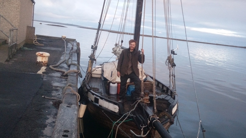 Darragh Carroll pictured about Ran, a traditional Norwegian sailing boat