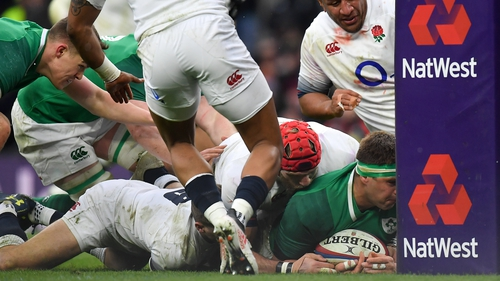 CJ Stander scoring against the base of the post-protector in the 2018 Six Nations