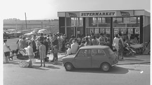 A queue for the new supermarket in Shannon. Photo: Shannon Group archives