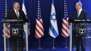 Mike Pompeo (left) holds a joint press conference with Israeli Prime Minister Benjamin Netanyahu