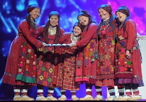 The Buranovo Grannies perform during the Grand Final of the Eurovision 2012