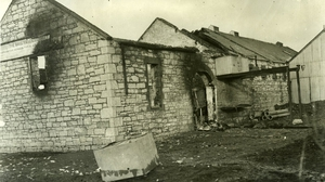 Burnt out building that is believed to be the creamery in Ballymacelligott, County Kerry. Image © UCD National University of Ireland, Dublin licensed under a Creative Commons Attribution-NonCommercial-ShareAlike 4.0 International License.