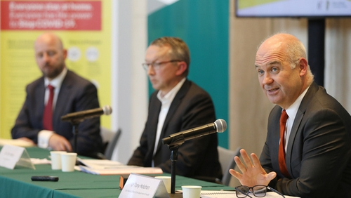 Chief Medical Officer Dr Tony Holohan with Dr Colm Henry and Prof Philip Nolan (Pic: RollingNews.ie)