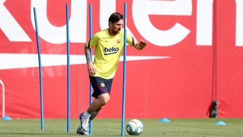 Leo Messi in training this week