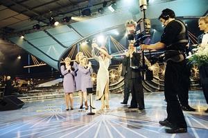 Linda Martin celebrates her Eurovision win in 1992