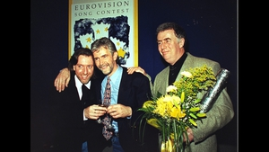 The winners of the Eurovision Song Contest 1994 (left to right) Paul Harrington and Charlie McGettigan with songwriter Brendan Graham at the Point Theatre, Dublin