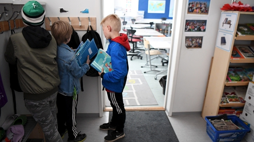 Pupils getting ready to start a lesson at Lauttasaari primary school in Helsinki earlier this week