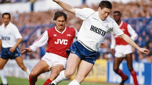Kenny Sansom playing for the Gunners in 1987