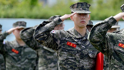 Son Heung-min in military uniform