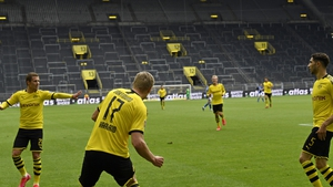 Erling Braut Haaland scored the opening goal for Dortmund against Schalke at an empty Signal Iduna Park