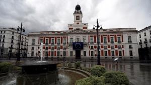 A deserted Plaza Del Sol in Madrid, Spain