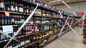 Bottles of tequila are seen in a supermarket that is not allowed to sell alcohol due to a Dry Law that is being applied in some parts of Mexico City