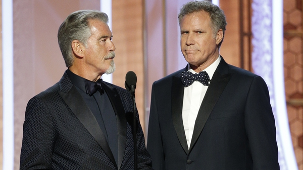 Pierce Brosnan and co-star Will Ferrell at the Golden Globe Awards in January