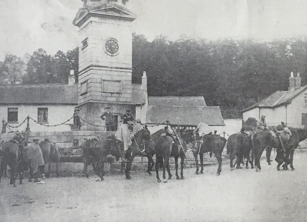 A cavalry patrol in the village of Enniskerry in Co. Wicklow. Photo: Irish Life, 28 May 1920. Full collection available at the National Library of Ireland