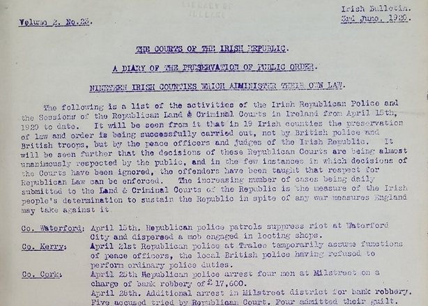 Details of Sinn Féin courts around Ireland. See the Further Reading section below to view the full document Photo: 'Irish Bulletin', 3 June 1920