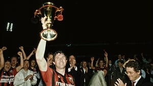 Don Givens lifts the Swiss league trophy in 1987