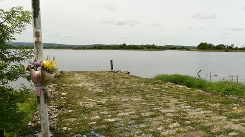 Flowers at the scene on the shores of Lough Erne