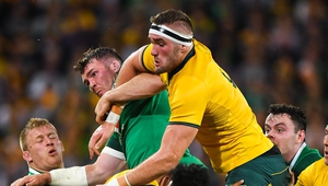 Izack Rodda in action for Australia against Ireland in 2018