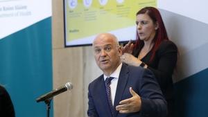 Lisa Harvey provides Irish Sign Language interpretation for Chief Medical Officer Tony Holohan at a Department of Health media briefing