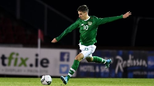 Conor Noss in action for Republic of Ireland U19s