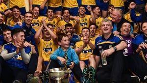 Roscommon manager Kevin McStay celebrates with his team after their victory in the 2017 Connacht football final