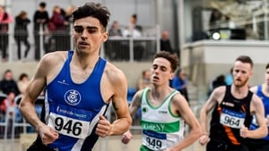 Coscoran on his way to victory in the men's national indoor 1500 metres