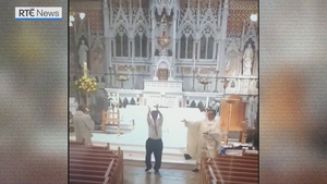 Fr Colum Wright, Deacon Kevin Devine and Sacristan Noel McCann end Mass with some Irish dancing