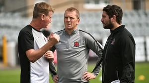 Stephen Kenny(L), Vinny Perth (C) and Ruaidhri Higgins in discussion back in July 2018