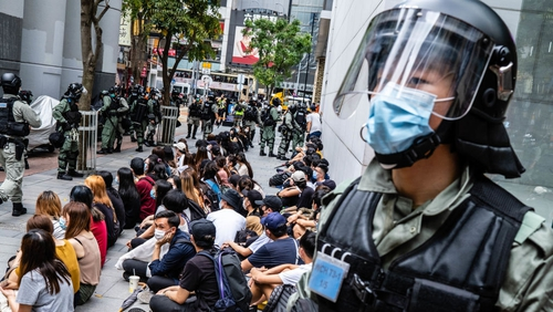 Police rounded up hundreds of protesters