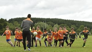 Mayo footballer Lee Keegan involved with a Cúl Camp training session