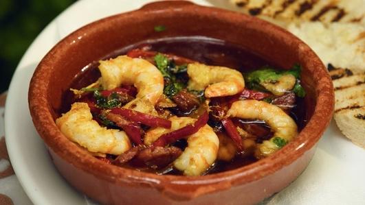 Nevens Recipes - Prawns with Chorizo & garlic