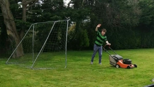 Pull the right cord: Junior Brother mows the lawn at home in Kilcummin, Co. Kerry