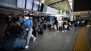Passengers at Rome's Fiumicino airport
