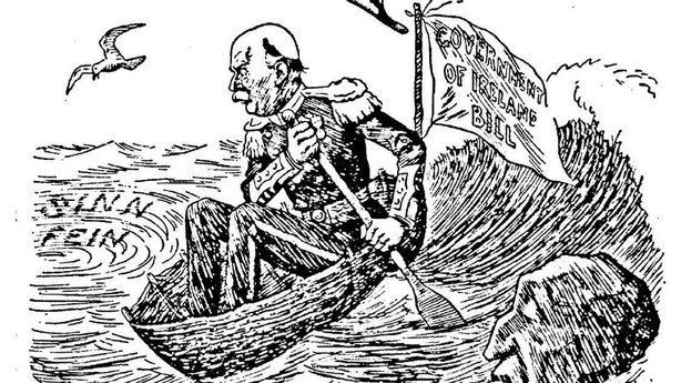 Walter Long, the First Lord of the Admiralty, navigating his way through past a 'Sinn Féin' whirlpool and a rock in the likeness of Sir Edward Carson, leader of the Ulster unionists