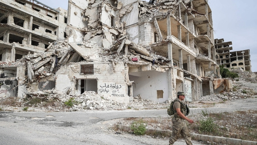 Turkish soldiers patrolling in Ariha, 15km south of Idlib last week