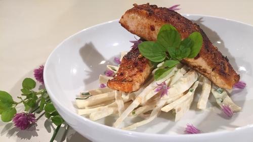 Kevin Dundon's blackened salmon with celeriac salad.