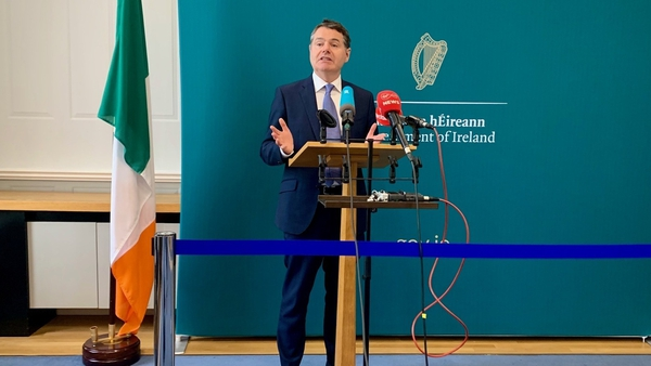 Paschal Donohoe said the figures show the expected steep decline in consumption taxes has been offset by a rise in corporation taxes
