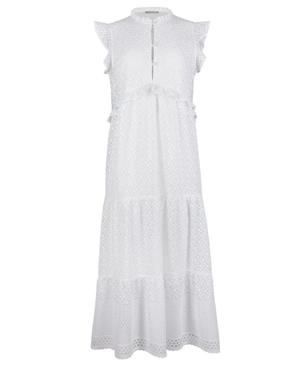 Oliver Bonas Broderie Sleeveless White Midi Dress