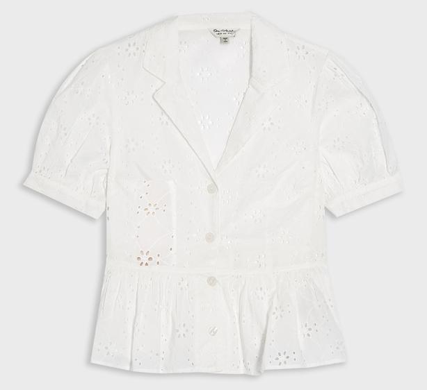 Miss Selfridge Ivory Broderie Puff Sleeve Shirt