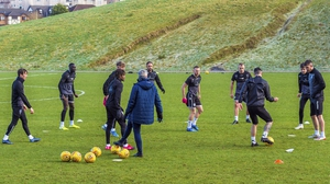 Motherwell players in training session at Dalziel Park back in February.